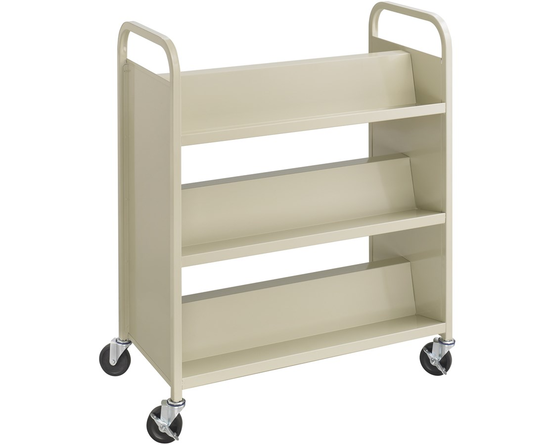 SAFCO5336BL-Scoot™ Single Sided 3 Shelf Book Cart Black SAF5336BL