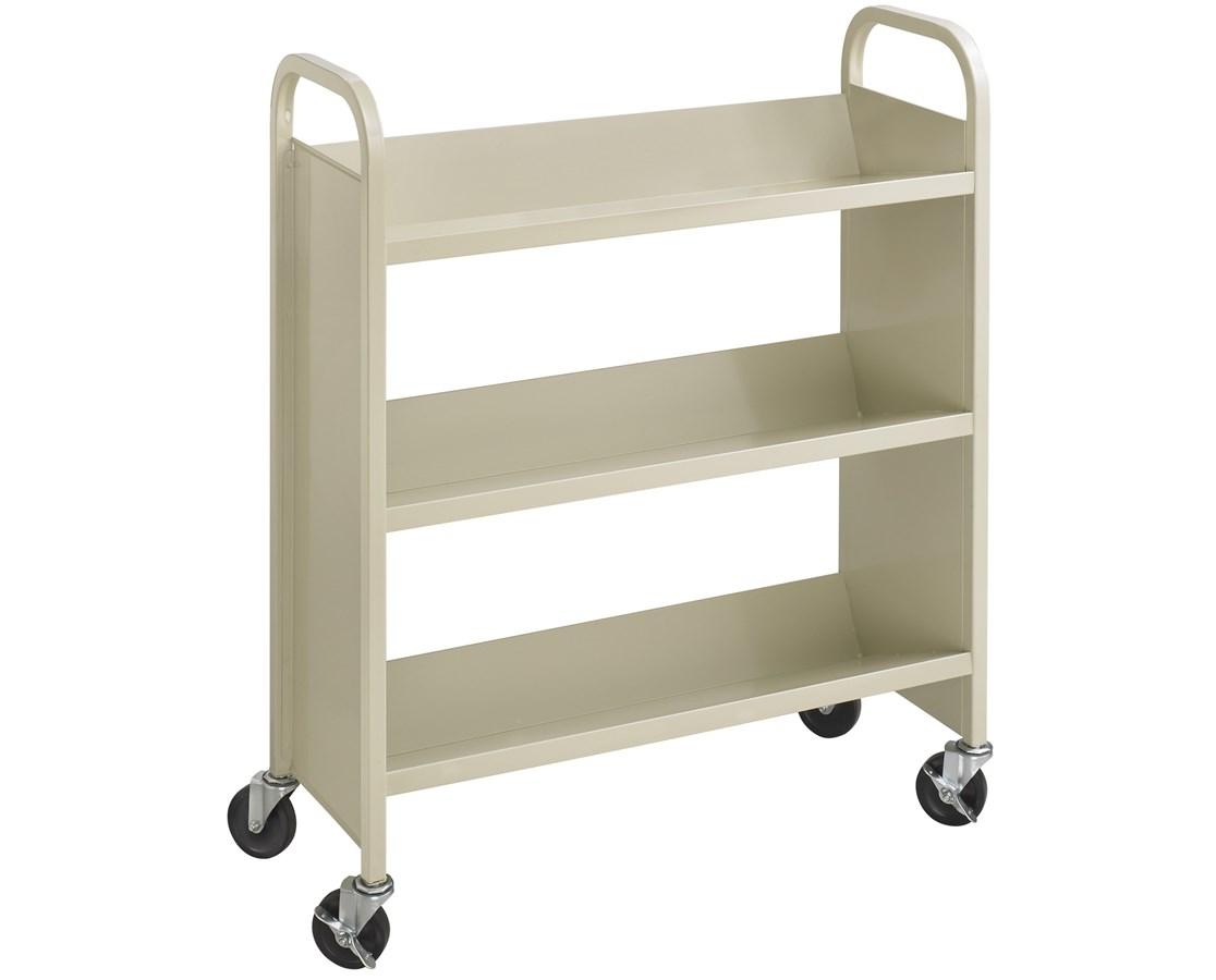 SAFCO5336BL-Scoot™ Single Sided 3 Shelf Book Cart Black SAF5336BL