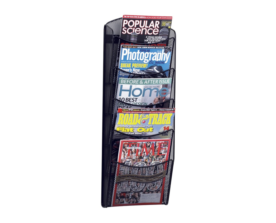 SAFCO5578BL-5-Pocket Onyx™ Magazine Rack Black SAF5578BL