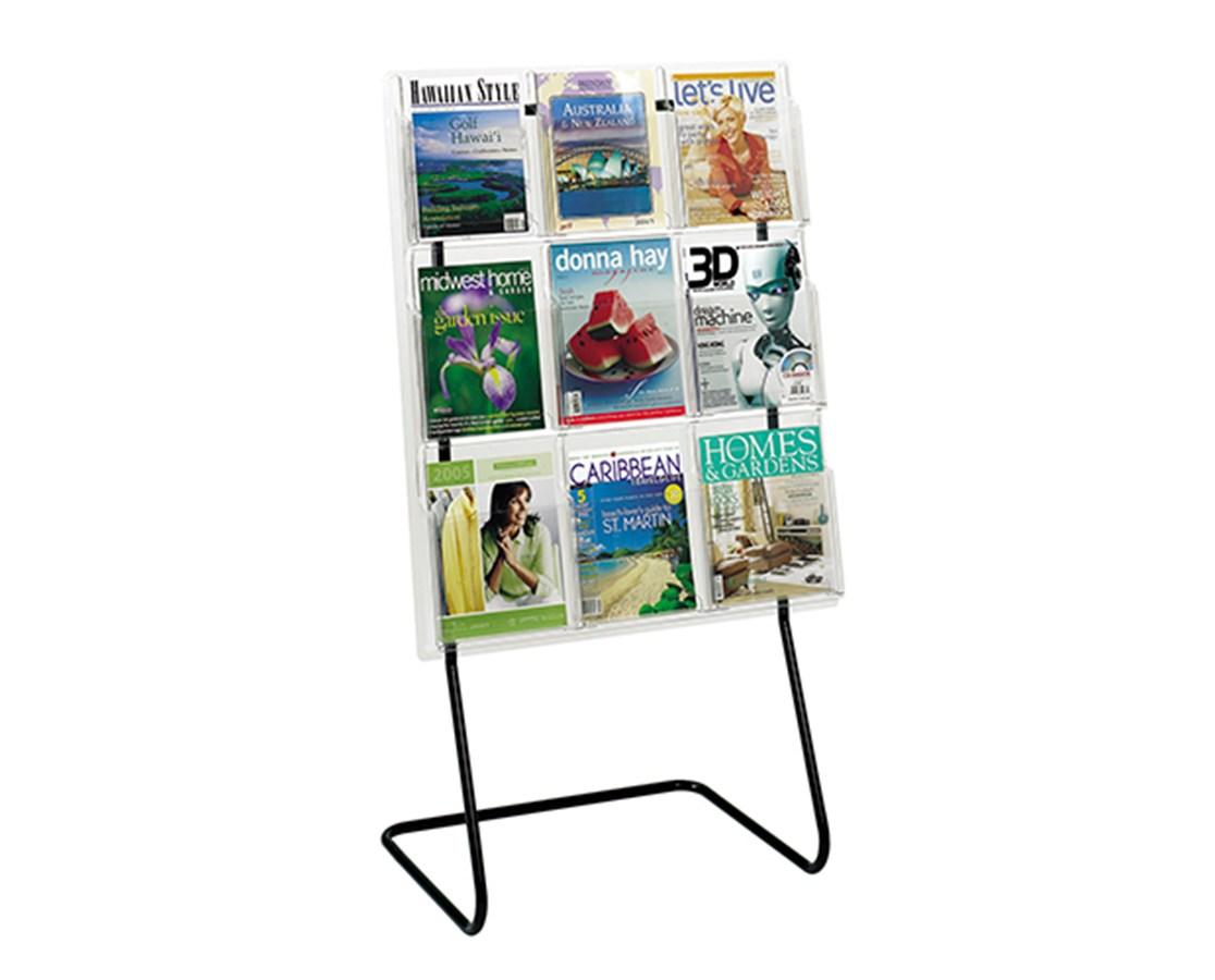 SAFCO5619BL-Magazine Display Floor Stand Black SAF5619BL