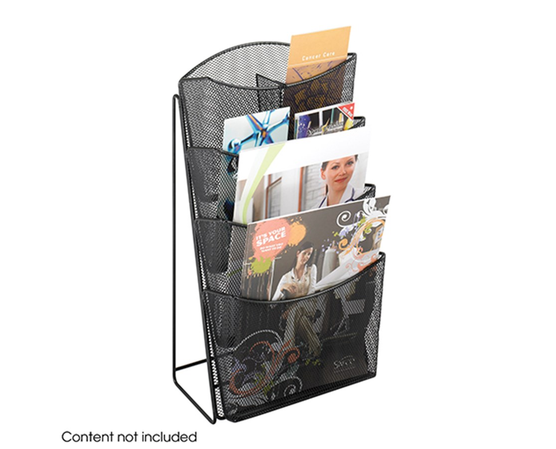 SAFCO5640BL-Onyx™ Mesh 4 Pocket Magazine Rack Black SAF5640BL