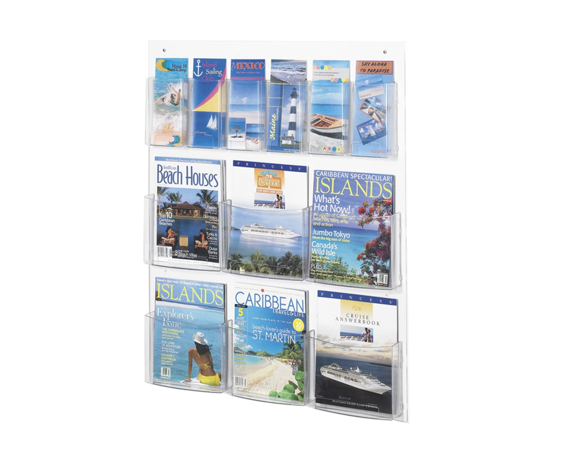 SAFCO5668CL-Clear2c™ 6 Magazine and 6 Pamphlet Display Clear SAF5668CL
