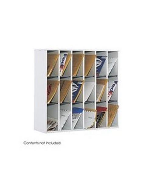 Safco Wood 18-Compartment Mail Sorter SAF7765GR