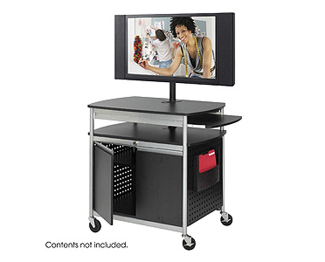 SAFCO8941BL-Scoot™ Flat Panel Multimedia Cart Black SAF8941BL
