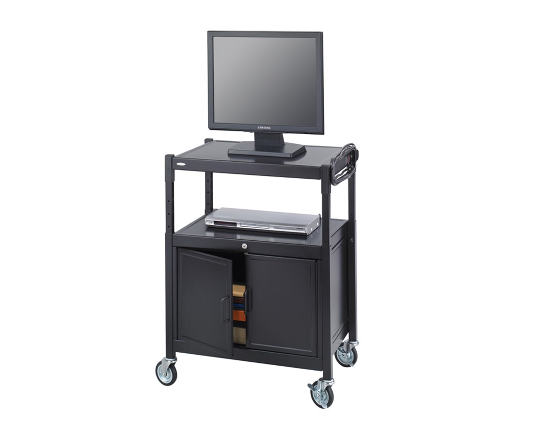 SAFCO8943BL-Steel Adjustable AV Cart With Cabinet Black SAF8943BL