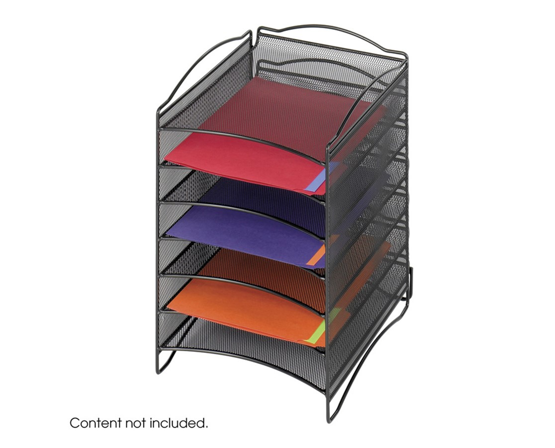 SAFCO9431BL-Onyx™ 6 Compartment Mesh Literature Organizer Black SAF9431BL