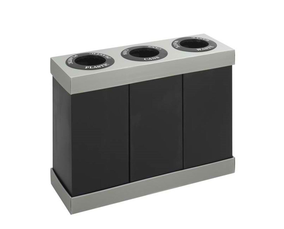 Safco At-Your-Disposal Recycling Center Waste Receptacle, Triple Bin, 84 Gallons SAF9798BL