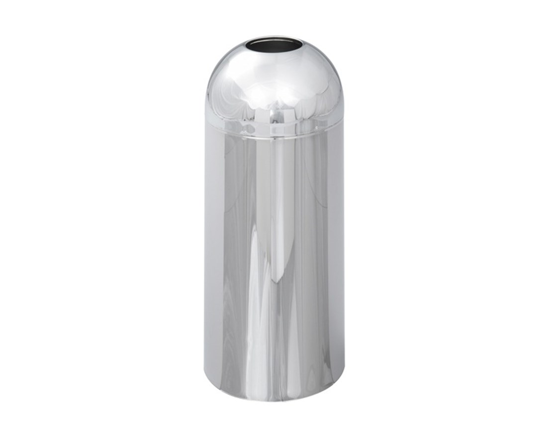 Safco Reflections Open Top Dome Receptacle, 15 Gallons, Chrome SAF9875