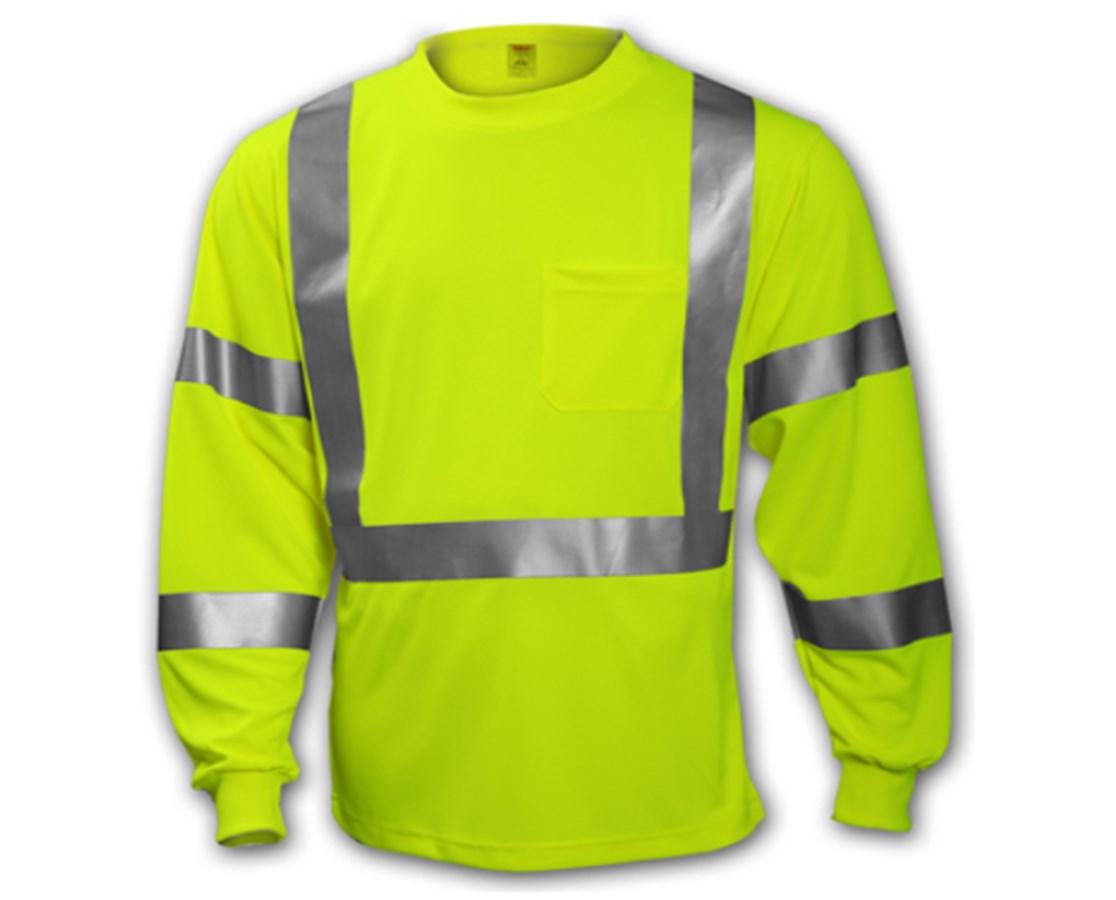 ANSI 107 CLASS 2 & 3 T-SHIRTS - Class 3 Fluorescent Yellow-Green - Long Sleeve TINS75522