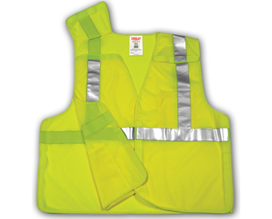 """ANSI 107 CLASS 2 SAFETY VESTS - Fluorescent Yellow-Green - Mesh - 2"""" Reflective Tape - 5 Pt Breakaway TINV70522"""