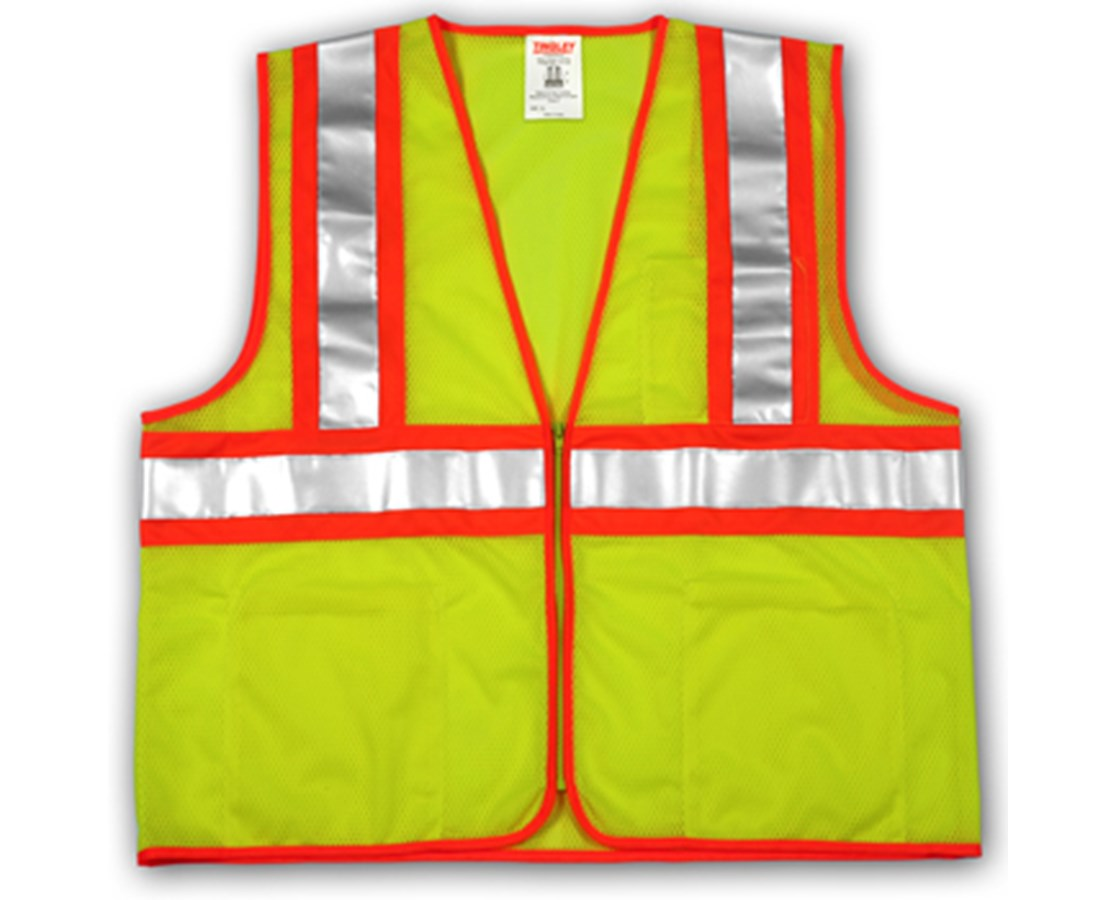 "ANSI 107 CLASS 2 SAFETY VESTS - Fluorescent Yellow-Green - Mesh - Two-Tone - 2"" Silver Reflective Tape TINV70642"