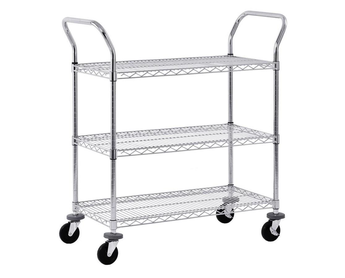 Sandusky Lee Chrome Wire Shelf Cart SANMWS361838-
