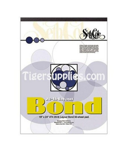 SETH COLE LAYOUT BOND PAPERS PAD 9X12 ,50 SHEET,20LB SC74