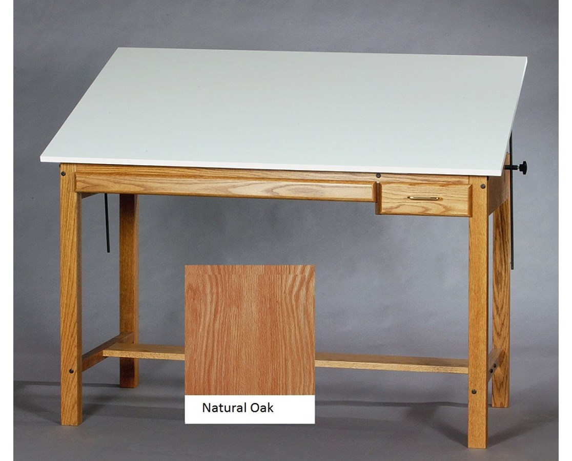 SMI Professional Natural Oak Drawing Table F3648OT TR