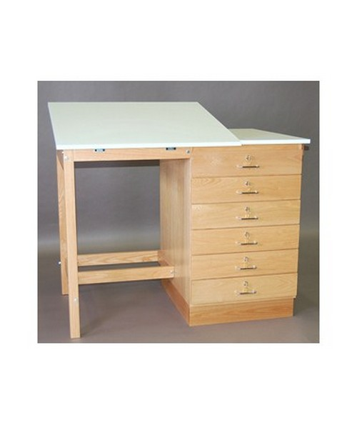 SMI Split Top 6 Drawer Drafting Table Natural Oak F4832 SST