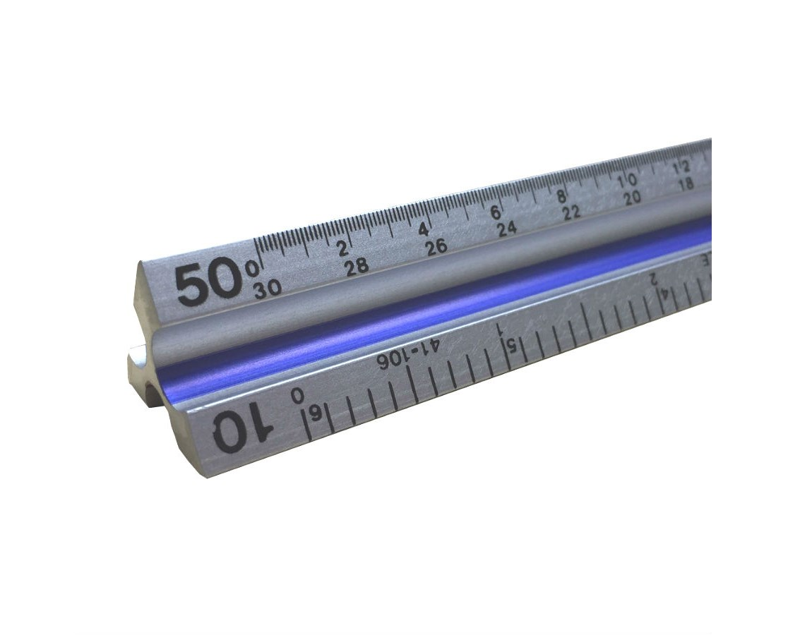 Aluminum Triangular Scale, In inch and metric TA60