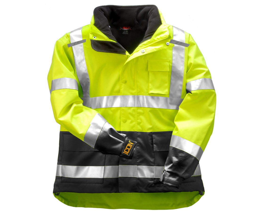 "ANSI 107 Class 3 Fluorescent Yellow-Green Jacket Shell with 2"" Silver TINJ24172"