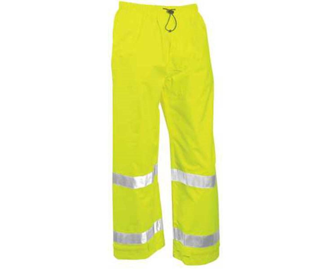 """ANSI 107 Class E Fluorescent Yellow-Green Pants with 2"""" Silver Reflective Tape TINP23122"""