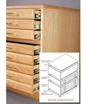 SMI 3 Drawer Oak Flat File with Steel Glides 24 x 36 F2436-3D-SDG