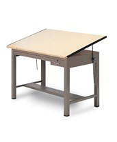 Mayline Ranger Table Steel 4 Post Tables With Tool and Shallow Drawers 7734B