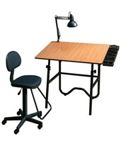 Alvin Creative Center White Drafting Table and Chair CC2012A