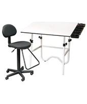 Alvin Creative Center White Base Onyx Table CC2017E