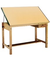 Mayline Ranger Drafting Table with Tool Drawer Unfinished Oak 7706A