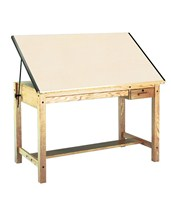 Mayline Ranger Drafting Table with 2 Drawers Natural Oak 7706B