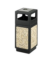 Safco 15 Gallon Canmeleon Aggregate Panel Waste Receptacle with Ash Urn/Side Open 9470NC