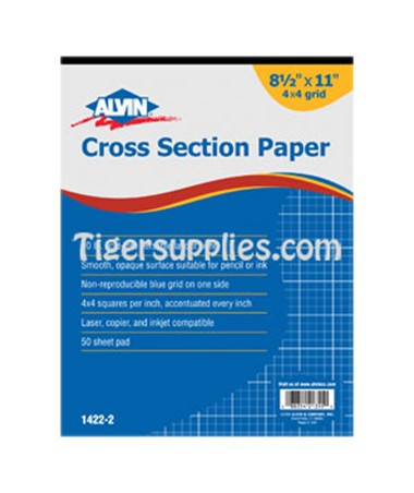 Croos Section Drawing Paper 4 x 4 50 Sheet Pads, Blue Lined 1422-20