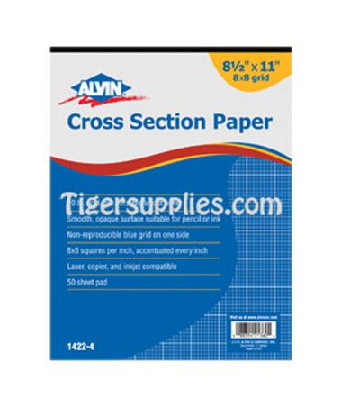 Croos Section Drawing Paper 8 x 8 50 Sheet Pads, Blue Lined 1422-40