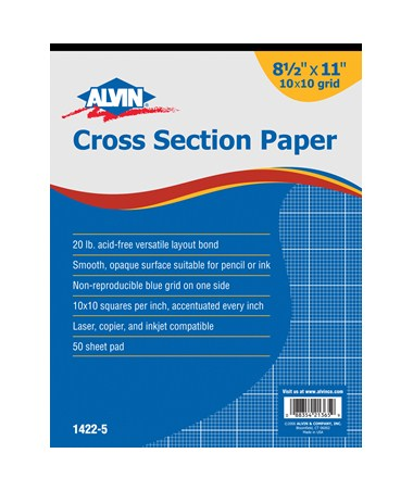 Croos Section Drawing Paper 10 x 10  50 Sheet Pads, Blue Lined 1422-50