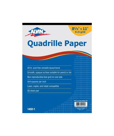 Alvin Quadrille Paper 50 Sheet Pad Blue-lined 4 x 4 Grid 1432-10