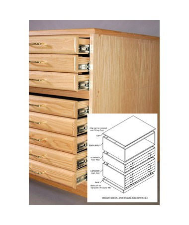 SMI Oak 3-Drawer Flat File with Steel Glides for 24x36 Inch Sheets