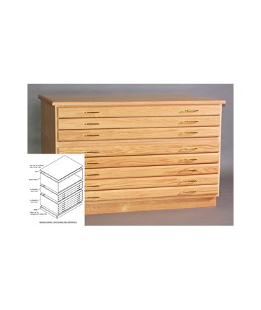 SMI Oak 3 Drawer Flat File For 24 x 36 Inch Sheets