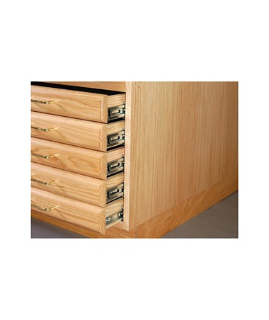 SMI Oak 5 Drawer Flat File with Steel Glides for 24x36 Inch Sheets