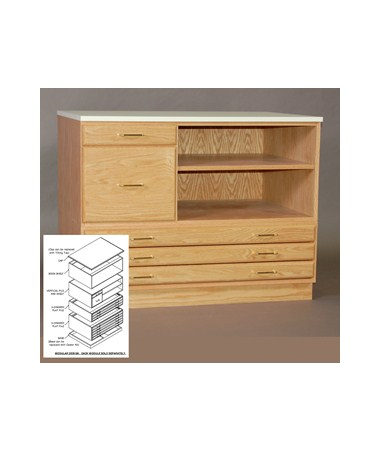 SMI Oak Vertical File and Shelf for 30 x 42 Plan File F3042 VS