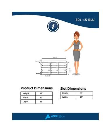 AdirOffice 15 Slot Classroom File Organizer 501-15-BLU