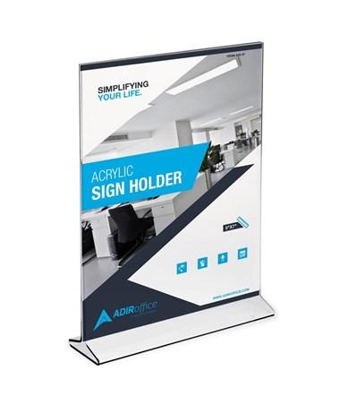 AdirOffice 5 x 7 inches Upright Frame Top Loading Acrylic Sign Holder ADI639-57-3-TL-