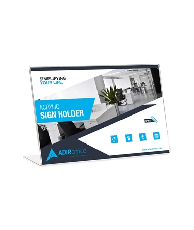 Adir Office 4 x 6 Inches Landscape Slanted Side-Loading Sign Holder ADI639-64-3-