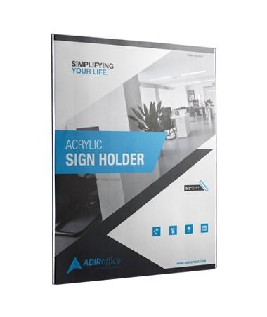 AdirOffice 8.5 x 11 Inches Wall Mount Side-Loading Acrylic Sign Holder ADI639-8511-3-WM-