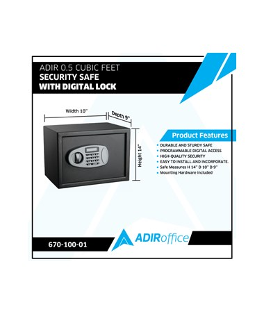 Adir 0.5 Cubic Feet Security Safe with Digital Lock 670-100-01