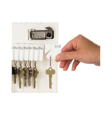 AdirOffice Key Cabinet with Combination Lock, 40 Hooks White