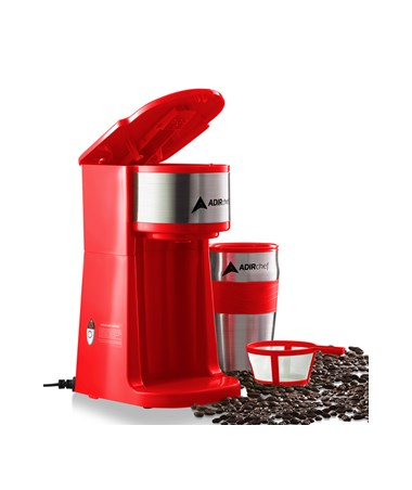 AdirChef Grab N' Go™ Personal Coffee Maker, Red 800-01-RED