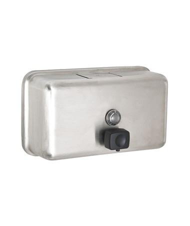 Alpine Manual Surface-Mounted Soap Dispenser, Horizontal 424-SSB