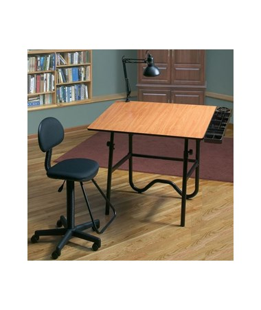 CC2005EBWR: Alvin CC Series Creative Center Base Onyx Table w/ Drafting Chair With Optional Swing-Arm Lamp ALVCC2005EBWR