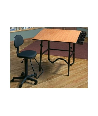 Alvin CC Series Creative Center Base Onyx Table w/ Drafting Chair ALVCC2005EBWR3-
