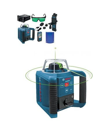 bosch grl300hvg rotary laser green beam self leveling tiger supplies. Black Bedroom Furniture Sets. Home Design Ideas
