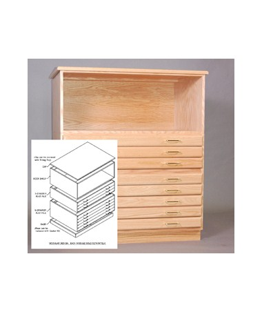 SMI Oak Bookshelf for 24 x 36 SDG Plan File F2436-S-SDG