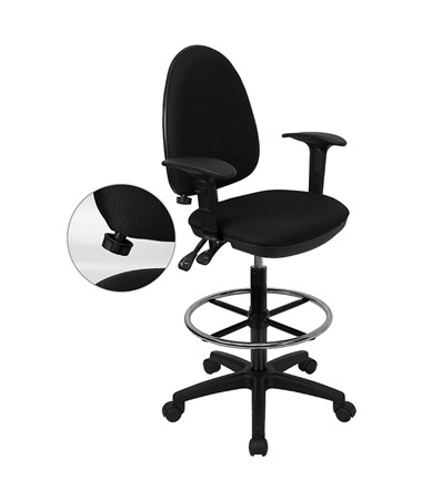 Flash Furniture Multifunctional Drafting Chair WL-A654MG-BK-AD-GG